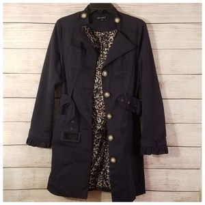 For Cynthia Belted Trench Coat Navy Medium